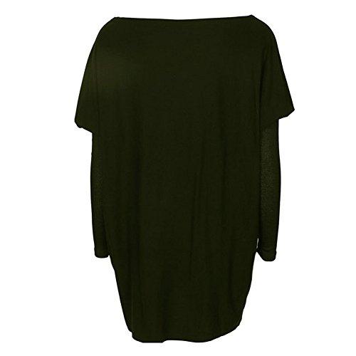 Maglione Donna Maglie Manica Lunga Camicette Autunno T-shirt Allentate Pullover Lungo Casuale Grigio Rosa Nero Bianco Verde Bianco M-XL Juleya Esercito Verde