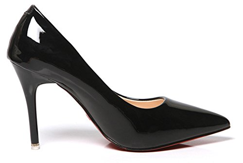 Aisun Damen Sexy Lack Kunstleder Spitz Zehen Low Top Stiletto High Heels Pumps Schwarz
