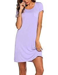 d3d7423076ec62 MAXMODA Damen Nachthemd aus Baumwolle Nachtwäsche Kurzarm Rundhals  Schlafhemd mit Vordertasche