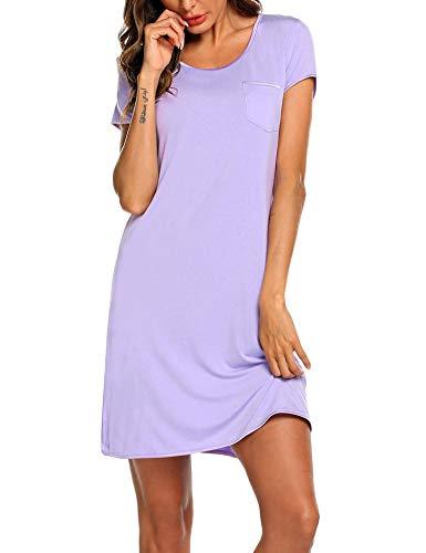 MAXMODA Damen Nachthemd Sleepshirt kurz Ärmel für Frauen Nachtwäsche Baumwolle Vordere Brusttasche Schlafanzug Lila XL