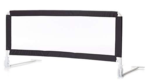 Set Fillikid Bettschutzgitter mit Stoffwindel von Kinderhaus Blaubär | 135x50cm | 135x60cm | Rausfallschutz für Baby & Kinder | hohes klappbares Bettgitter, Design:dunkelgrau
