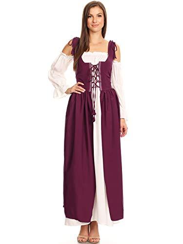 Anna-Kaci Damen Mittelalter Vintage Langarm Kostüme Schnüren Überkleid ()