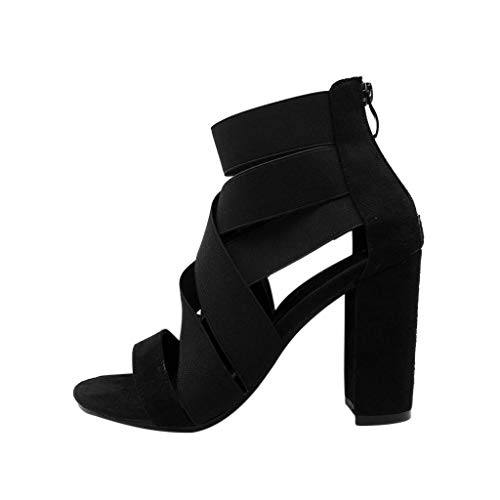 Beaulies Lace Up Sandals Womens Block Mid Heel Ankle Tie Wrap Lace Up Strappy Sandal Shoes Open Toe Buckle Ankle Strap Platform High Heel Sandal Prom Party Shoes (Black) Strappy Ankle Strap Platform Sandal