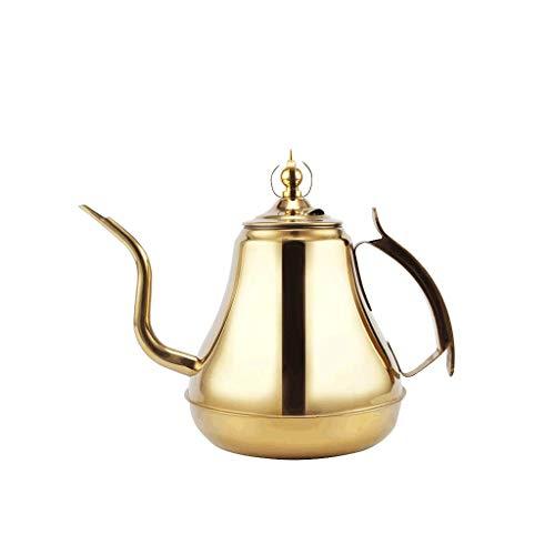 JXLBB Teiera a cupola in acciaio inox 304 Teiera a forma di fiore con filtro Hotel ristorante con fornello a induzione Bocca snella Teiera grande (Capacità : 1.8L, colore : Oro)