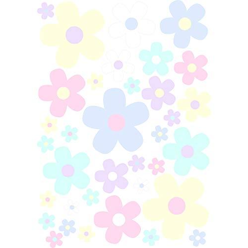 younikat Blumen-Aufkleber-Set Blümchen Pastell-Töne I Flower-Power Sticker für Fahrrad Laptop Handy Küche Bad Fahrzeug-Aufkleber I wetterfest I kfz_287