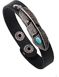 SUYA pulseras,2pcs, turquesa de la aleación de jade pulsera de piel, joyería, pulsera creativa, regalos creativos , black