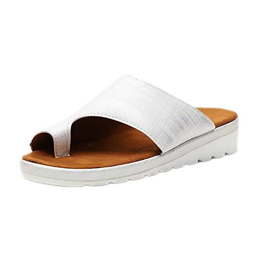 Sandales Femme Plates Confortables Orthopedique Chaussures Plateforme Été Tongs Chaussures de Plage Hallus Valgus Wedge Sandals Noir Leopard Or Argent 35-43 EU Argent 38