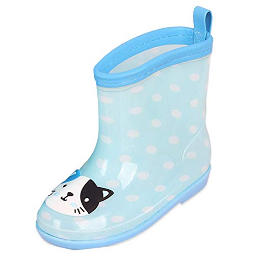 Gaga city Waterproof Rain Boots Kids,Outdoor Water Resistant Ankle Boots Cat Bear Rabbit Frog for Unisex Boys Girls