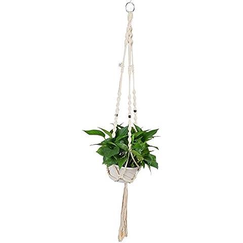 Yiyu 44,3 Pulgadas Percha de Macarme para Maceta de Planta, Cuerda Hecha a mano Colgante para Suspensión de Plantas Yute 4 Patas con Perlas de Estilo Retro Decoración de Hogar Oficina Jardín Balcón