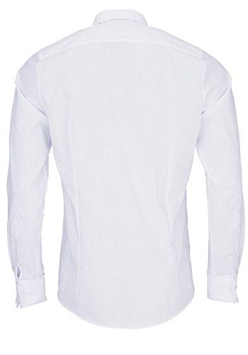 Olymp body fit haifischkragen chemis'à manches longues extra longue (70 cm) facile à repasser blanc uni Blanc