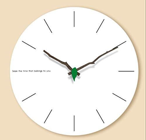 WDDqzf Despertadores Creativo MDF Relojes De Pared De Madera Sala De Estar Moderna Decoración De La Pared del Hogar Ronda De Madera Silenciosa Que Cuelga El Reloj Romano Grandes Números 12 Pulgadas