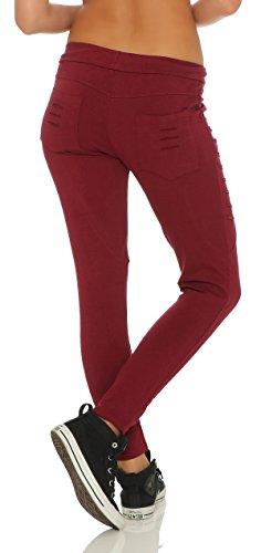 Mr. Shine Damen Stylische baggy Jogginghose für Damen mit einschnitten Reißverschluss und strech Bund Bordo