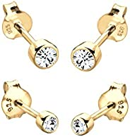 Elli Women Genuine Jewellery Earrings Stud Ear Sparkle Basic 925 Sterling Silver Gold Plated Swarovski Crystal