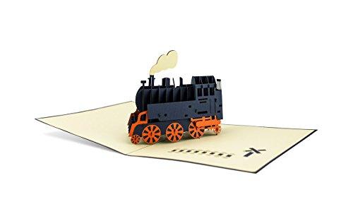 Diese-Klappkarten 3D Technik Dampflok 3D Pop-Up Karte   Bahn   Reise-Gutschein   Einladung   Urlaub   Reise   Grußkarte mit Umschlag T09