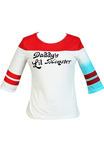 Tianxinshop Harley Quinn T-Shirt Papa Lil Monster-Baseball-Hemd Kostüme Karneval Fasching Halloween Cosplay