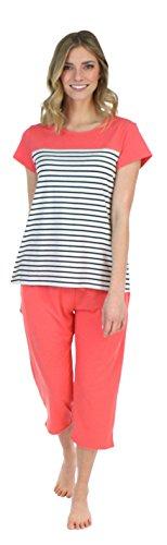 Frankie & Johnny Schlafanzug für Damen, T-Shirt mit kurzen Ärmeln und Caprihose, Pyjama (FJ1944-1062-EU-MED)