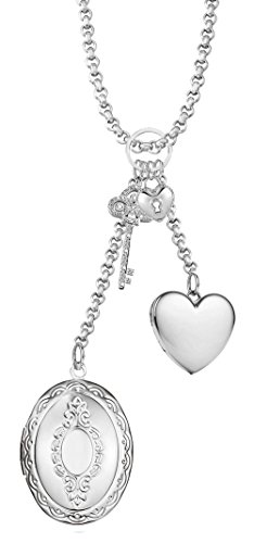 Via Mazzini Silver Heart Photo Locket Pendant for Women and Girls (NK0538)