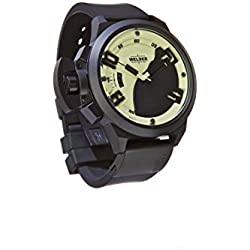 Welder Men's Quartz Watch with White Dial Analogue Display and Black Rubber Strap K24-3105