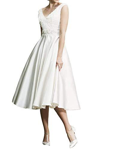 SongSurpriseMall Hochzeitskleid Standesamt Damen V-Ausschnitt Brautkleid Vintage Hochzeitskleider...