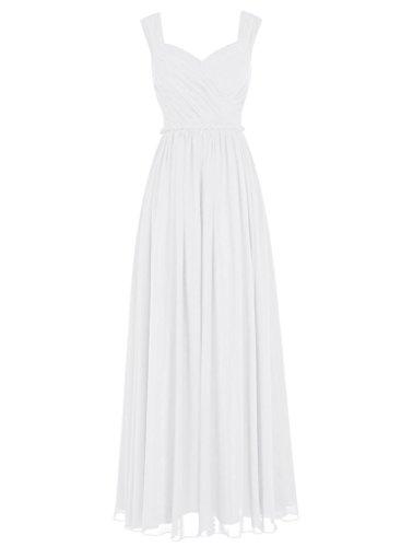 Charmant Damen Elegant Chiffon Geraft Brautjungfernkleider Partykleider Abendkleider Bodenlang Weiß