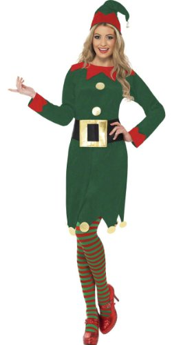 LADIES MISS CHIEF ELF CHRISTMAS FANCY DRESS COSTUME SANTA'S LITTLE WORKSHOP HELPER LONG GREEN DRESS + HAT + BELT S M L 8-10 12-14 16-18 (SMALL 8-10)