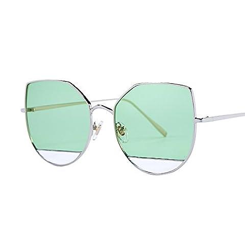 LXKMTYJ Sepia Cat's Eye lunettes de soleil visage rond big box lunettes noires, personnalité vert marine