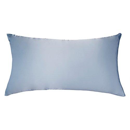 LULUSILK Funda de Almohada para el Pelo y Piel 100% Pura Seda 16 Momme con Cremallera Oculta 1 Unidad, 40 x 135 cm, Azul Claro