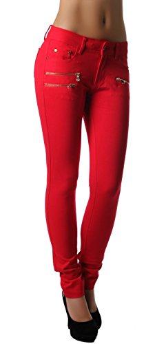 Modische bequeme Damen Jeggings Leggings Hüfthose Stretch Slimfit Rot