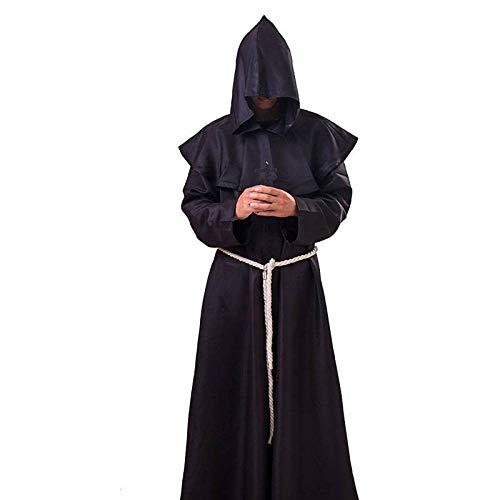 Robe Schwarze Kostüm Priester - WEII Halloween Kostüm mittelalterlichen Priester Robe COS Kostüm,Schwarz,L