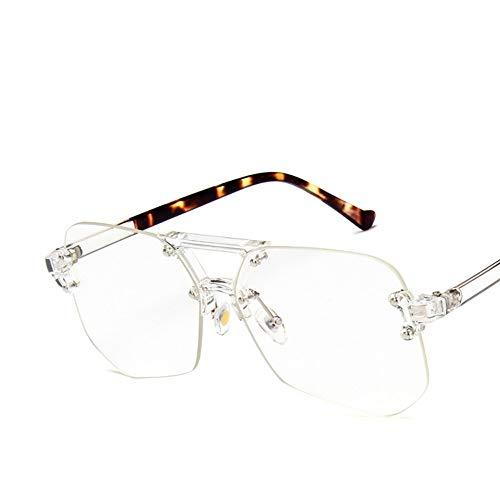 MJDABAOFA Sonnenbrillen Coole Retro Rahmenlosen Brillen Übergroße Klare Linse Brille Männer Frauen Transparente Optische Square Brillengestelle