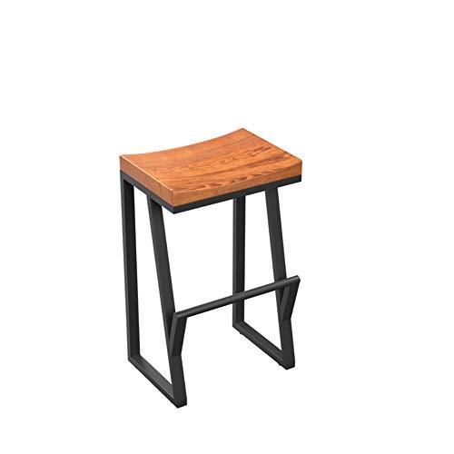 VOVOVO Barstuhl barhocker Industrial Look, Materialmix Holz + Metall, für Bars, Bistros, Terassen Und Cafes | Auch für Eigenheim | Innen- und Außenbereich - Holzsitz - Bar-height Bistro
