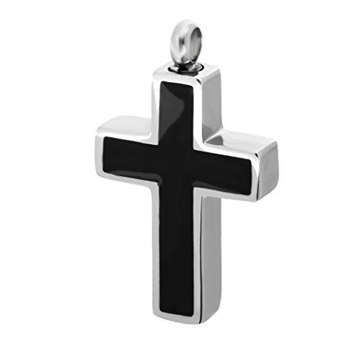 MagiDeal Schmuck Edelstahl Bibel Gebet Kreuz Anhänger für Herren Damen, Schwarz