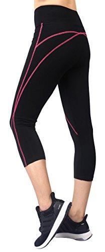 Neonysweets Damen-Sporthose, Caprihose, Yogahose, Sport, Workout-Leggings, Jogginghose Gr. XL, schwarz/rosa (Tall Womens Leggings)
