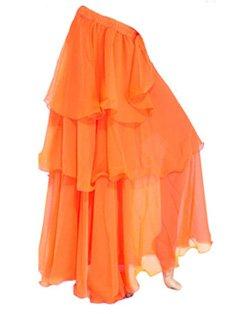 A-express® gonna per danza del ventre, tango, samba, danze tribali e gitane, lunga a tre strati orange taglia unica