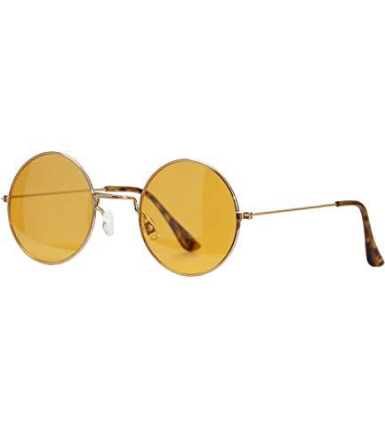 Caripe Lennon Retro Vintage Sonnenbrille Metall Damen Herren rund Nickelbrille (6826 - Gold - orange getönt)