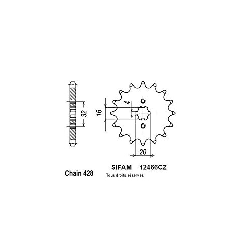 Sifam Pignon Acier 15 dents Yamaha Yzf 125 R 08-