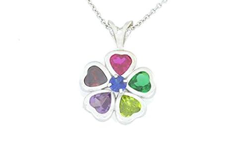 2.5 Ct Gemstones Heart Bezel Pendant .925 Sterling Silver Rhodium Finish