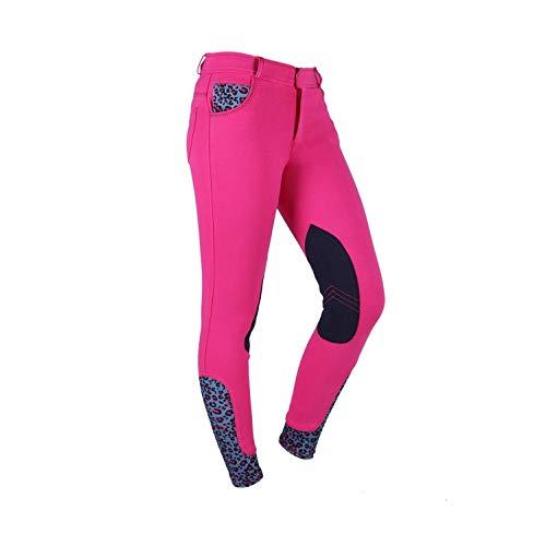 netproshop Kinder Reithose Kieki Junior mit Kniebesatz, Aufdruck und Bedrucktem Stoff, Kindergroesse:140, Farbe:Pink