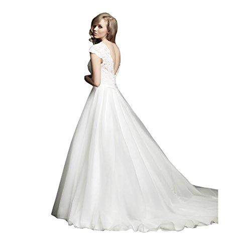 GEORGE BRIDE A-LineFluegelaermel V-foermig Zurueck Spitze Mieder Organza Rock Brautkleider Hochzeitskleider Weiß