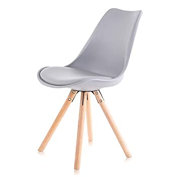 Makika Design Chair Retro Dining Style Kitchen Chair Office Chair Modern Lounge Chair with Backrest Set of 4 MOOL in Grey with Backrest