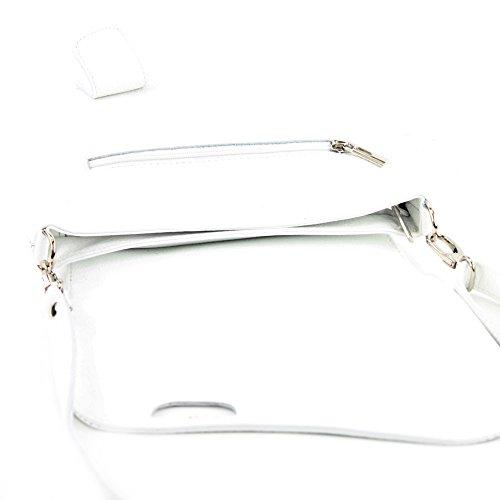 modamoda de - ital. Ledertasche Damentasche Messengertasche Umhängetasche Leder T146 Weiß