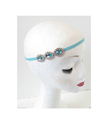 Vert Menthe turquoise Bandeau cheveux Bandeau Argenté Vintage Années 1920 Flapper P12 * * * * * * * * exclusivement vendu par - Beauté * * * * * * * *