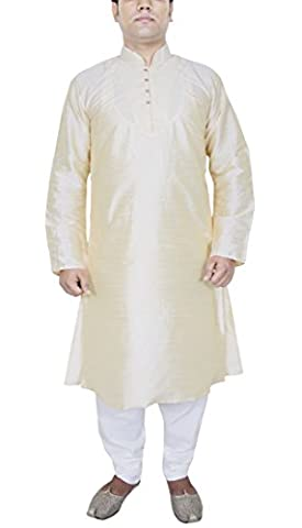 Mens Clothes Fashion Kurta Pajama Set Ethnic Indian Dress Offwhite