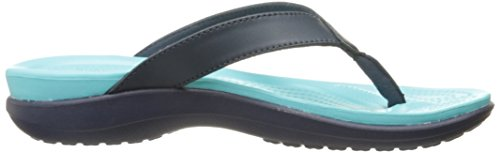 Crocs Capri V Flip, Chaussons Mules - Femme Bleu (Navy/Pool)