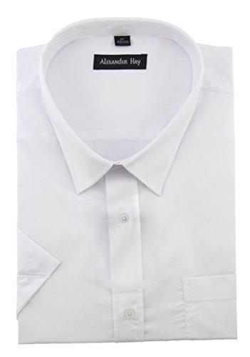Camicia da uomo formale a maniche corte, 7colori tinta unita, taglia normale e grande di Alexander Hay ASS001 White