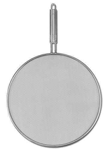 Fackelmann Spritzschutz OVALGRIFF, Spritzschutzdeckel für Pfannen, Spritzschutzsieb auf Edelstahl für das Braten ohne Fettspritzer, geeignet für Pfannen bis Ø 28 cm (Farbe: Silber), Menge: 1 Stück