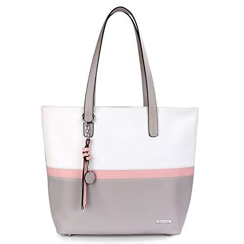 Pomelo Best Damen Handtasche Mehrfarbig gestreift Umhängetasche Tote-Tasche Grau