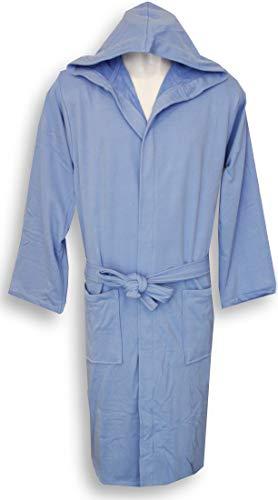 Accappatoio uomo donna con cappuccio perlarara taglia s - m - l - xl - xxl novità cotone spugna tessuto lacoste salvaspazio (azzurro, m/l - 46/50)