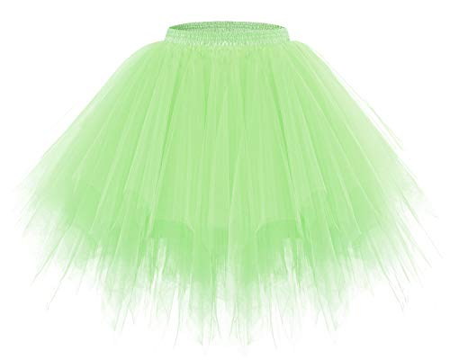 bridesmay Tutu Damenrock Tüllrock 50er Kurz Ballet Tanzkleid Unterkleid Cosplay Crinoline Petticoat für Rockabilly Kleid Mint L