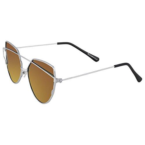 Trendmi Silver Frame Red Yellow Lens Unisex Aviator Sunglasses